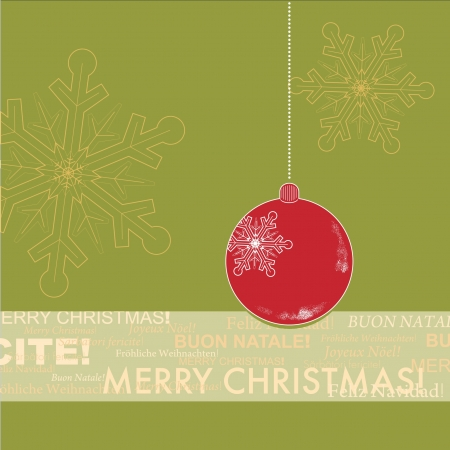 Red and Green Christmas Greeting Card Vector