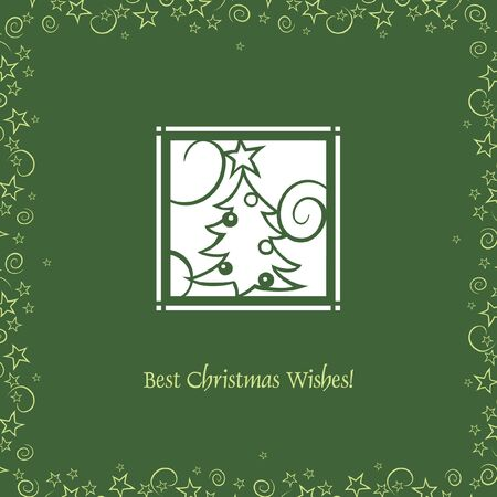 Greeting card with cut out Christmas Tree Vector