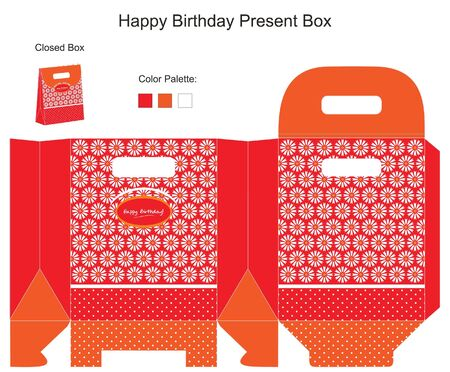 packaging template: Red and Orange Present Box