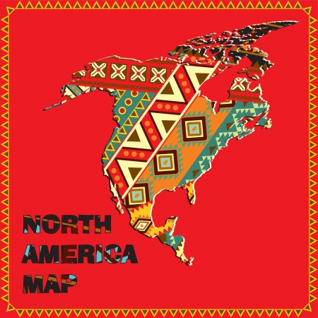 North America map with ethnic ornaments Stock Vector - 14151356