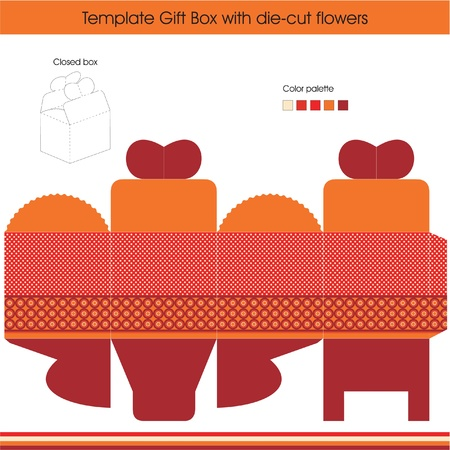 diecut: Gift box template with dots design Illustration
