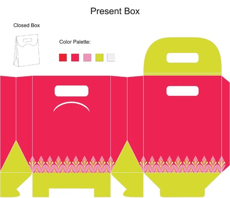 Template present box for baby girl shower