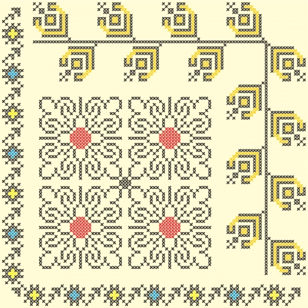 embroider: 3 seamless embroidered good like handmade cross-stitch ethnic pattern