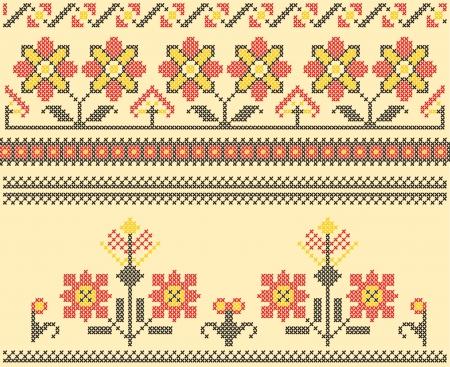 punto croce: Set di etnico punto croce rumeno fiorire modello