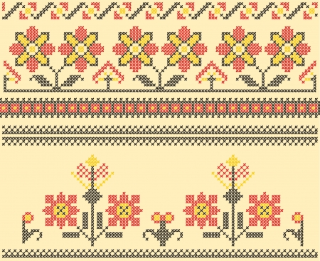 Sets of ethnic cross stitch romanian flourish pattern Vector