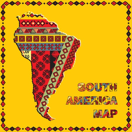 south america map: South America map with ethnic ornaments Illustration