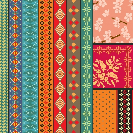 folk: Various strips and backgrounds motifs colored Illustration