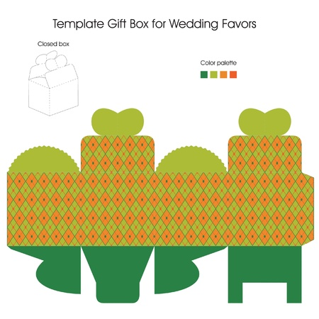 Template gift box for Wedding Favors Vector