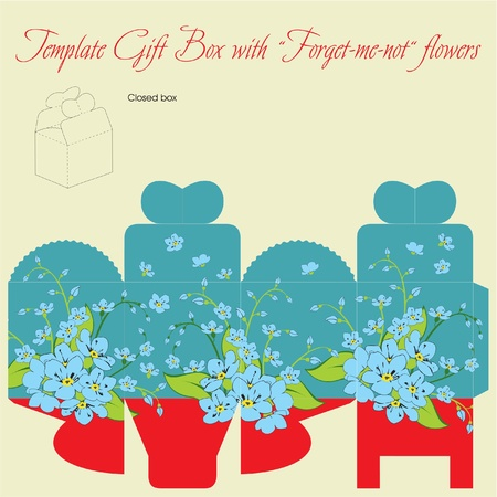 Template gift box for wedding favors. Forget-me-not flowers bouquet. Vector