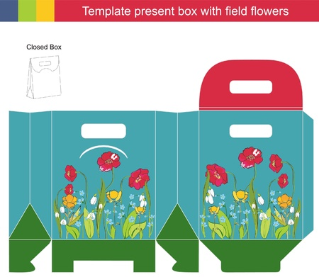 box template: Template gift box with field flowers