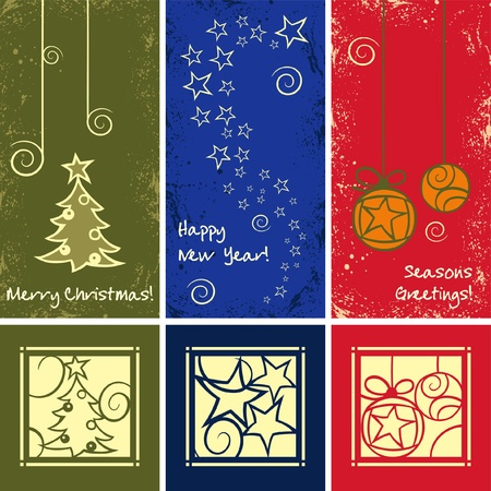 Grunge Christmas Ornaments in different colours Vector