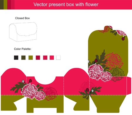 textile image: Template vector box with red flowers Illustration