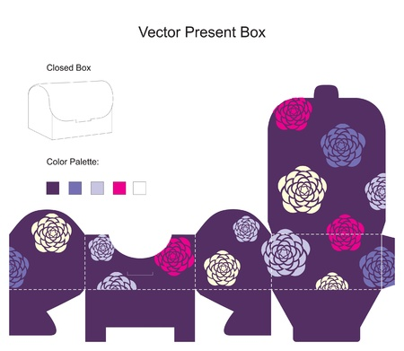 box template: Template for purple gift box