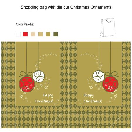 Template for Shopping bag with die cut Christmas Ornaments Vector