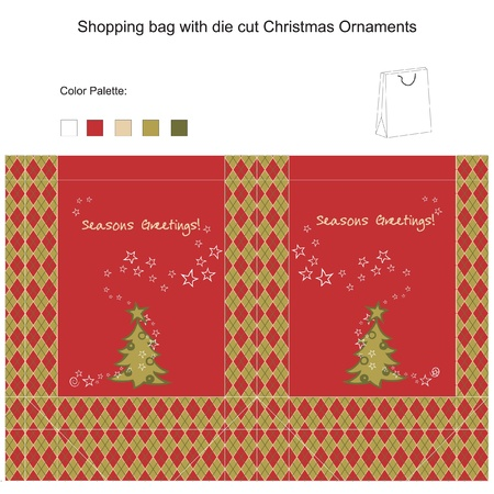 Template for  Shopping bag with die cut Christmas Tree Vector
