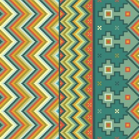 Zigzag pattern with accents of ethnic motifs Vector