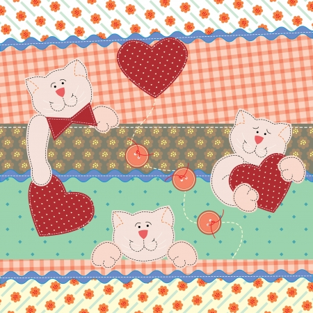 Funny Teddy Bears with hearts.  Vector