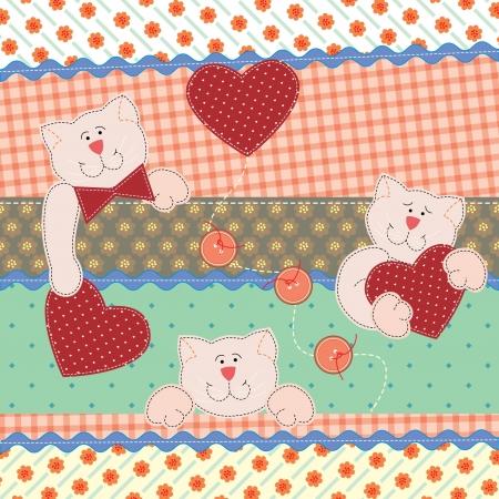 shabby chic: Funny Teddy Bears with hearts.