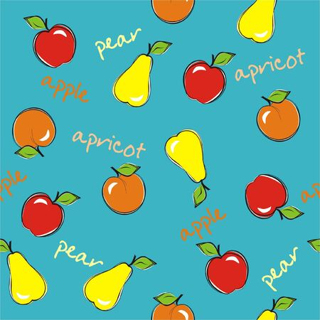 Seamless background with fruits. Vector