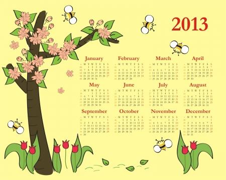2013 Colorful calendar for children Stock Vector - 14807253