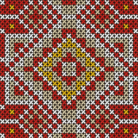 red stitches: Seamless embroidered good like handmade cross-stitch ethnic pattern
