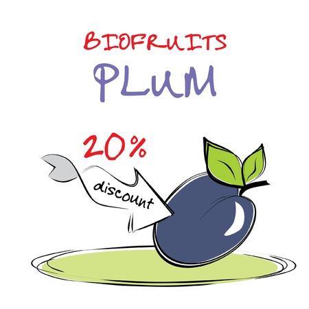 symbolic: Delicious plum - freehand illustration Illustration