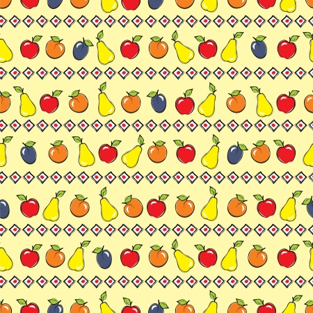 decorative wallpaper: Yellow background with apples, plums, apricots and pears Illustration