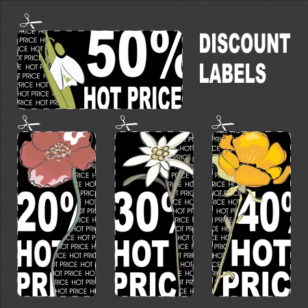 Hot price discount labels with flowers Stock Vector - 15065100