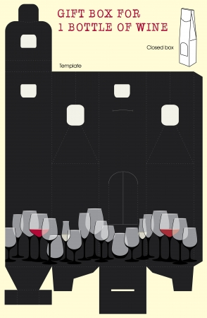 clip art wine: Gift box for one bottle of wine Vector template