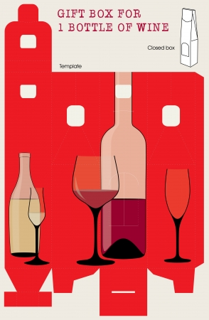 Gift box for one bottle of wine Vector template