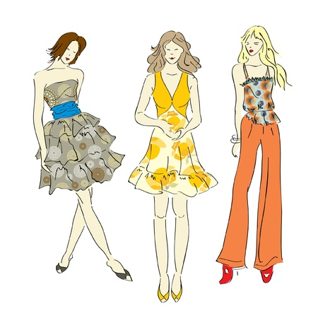 supermodel: Fashion models  Vector illustration - sketch