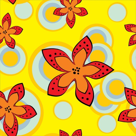 Yellow background with stylized flowers  Vector illustration