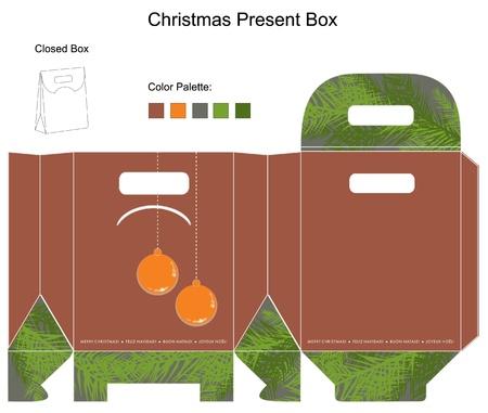 die cut: Decorative christmas box with die cut Christmas Ornaments