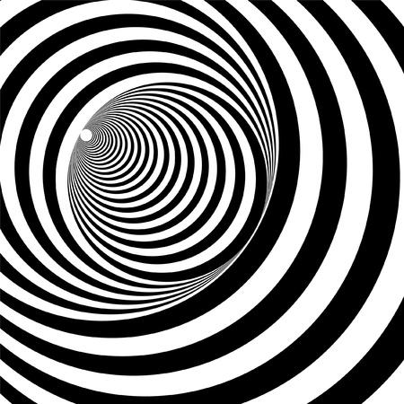 arte optico: Un túnel negro y blanco alivio óptico ilusión ilustración vectorial