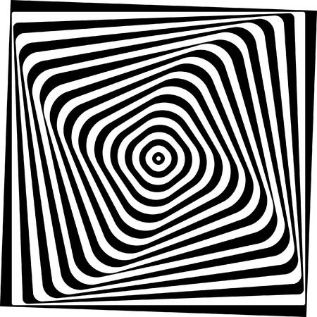 arte optico: Ilusión óptica y Negro blanco ilustración vectorial Vectores
