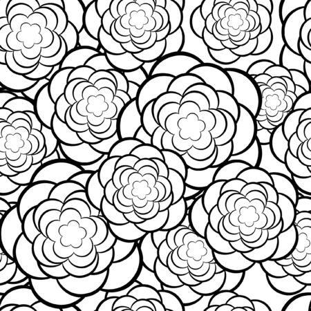 contrast floral: Seamless floral pattern  Vector illustration in black and white  Illustration