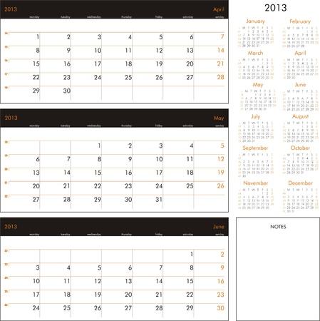 Vector calendar 2013 - Planner for three month Stock Vector - 15921450