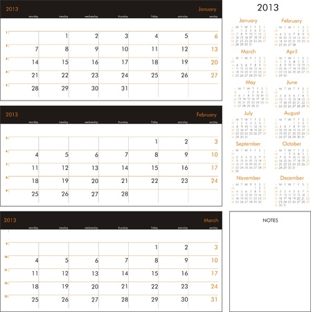 Vector calendar 2013 - Planner for three month Vector