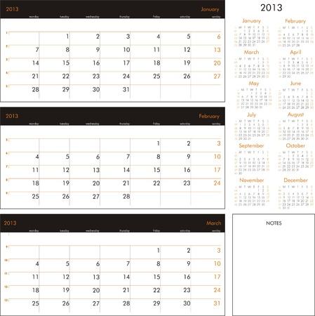 Vector calendar 2013 - Planner for three month Stock Vector - 15921449