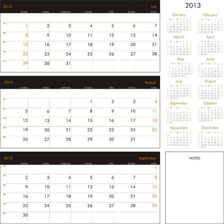 Vector calendar 2013 - Planner for three month Illustration