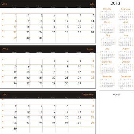 Vector calendar 2013 - Planner for three month Ilustrace