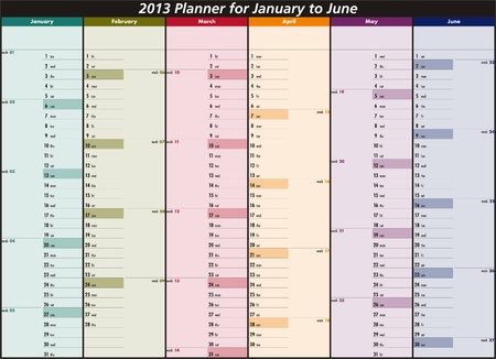 Vector calendar for 2013  January to June  Vector