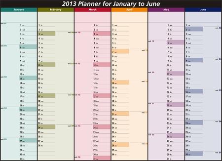 mon 12: Vector calendar for 2013  January to June  Illustration