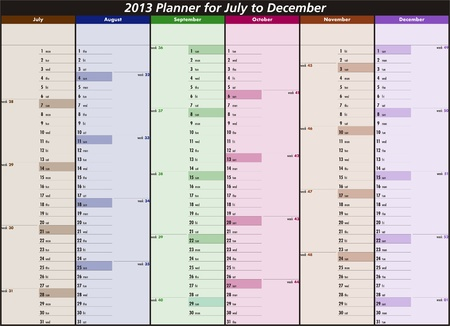 Vector calendar for 2013  July to December  Vector