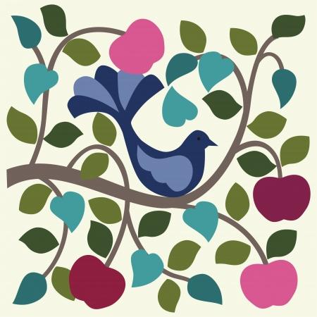 歌: リンゴの木のベクトル図の鳥