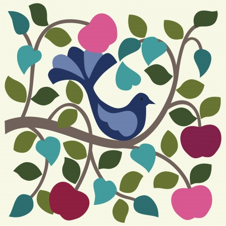 apple border: Bird in apple tree  Vector illustration