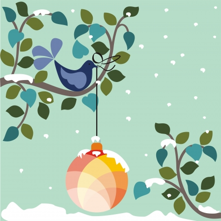 Blue snowflake background with Christmas hanging decoration
