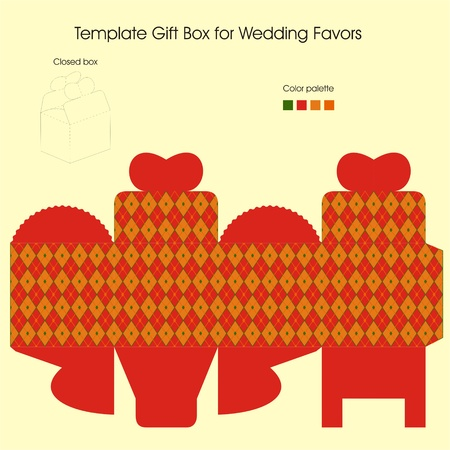Template gift box for Christmas present Vector