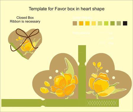 Die cut favor box  Floral pattern  Vector
