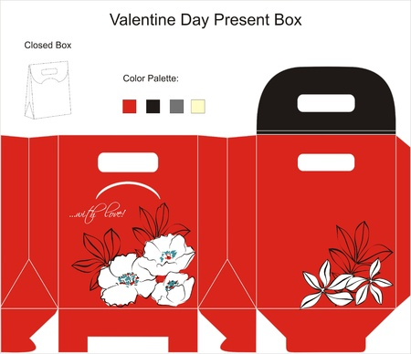 favors: Template for Gift Box with flowers